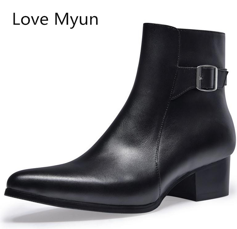 faad53105fe US $87.6 25% OFF|Autumn winter new mens pointed toe genuine leather boots  high heels fashion buckle designer black ankle boots shoes men botas-in  Work ...