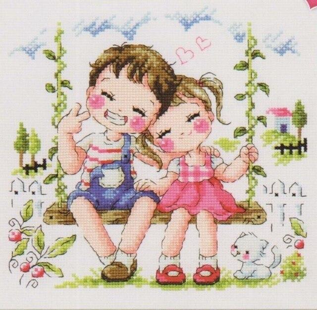 Coleção ouro Contados Cross Stitch Kit Queijo e Sorriso Menina e Menino Balanço Infância Inocente Puro Amor Amante ENTÃO