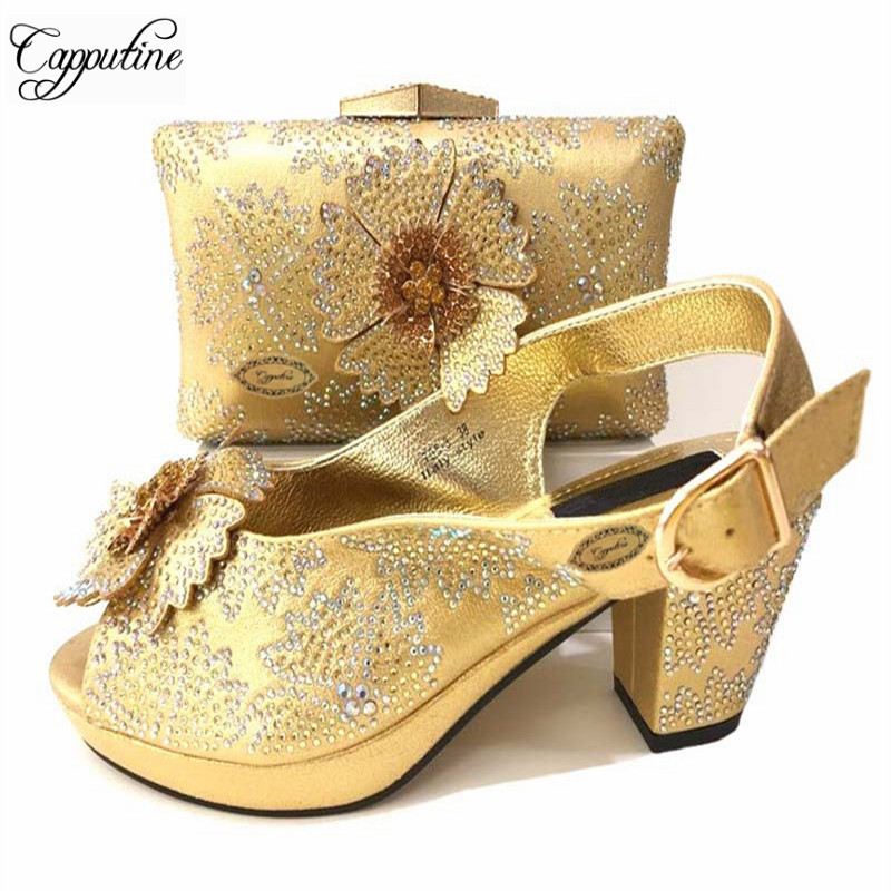 Wholesale Price Newest African Women Gold Color Shoes And Bag Set Italian Design Shoe And Bag Set For Party Free Shipping TX-369 2018 newest classic black color very beautiful african women shoes and bag set with more multicolored crystals for evening party