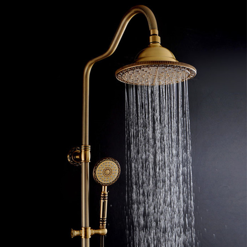 New Arrival luxury Retro Carved Bathroom Wall Mounted Carving Hand Held Antique Brass Shower Head Kit Shower Faucet Set цена