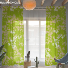 Natural Plant 3D Green Tulle Curtains for Living Room Sheer on the Windows Screen Kitchen Decoration White