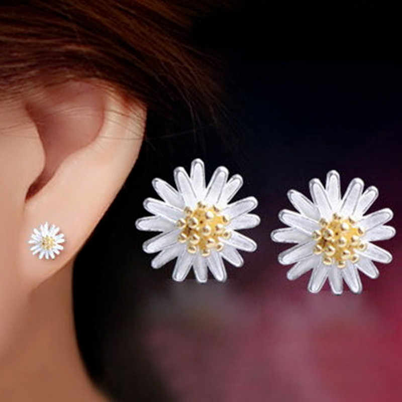 Dainty Small Flower Heart Wing Bow Crown Zircon Crystal Stud Earrings for Women Tiny Fashion Jewelry pendientes mujer