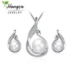 Hongye 2 հատ / Կոմպլեկտներ քաղցրահամ ջրերի մարգարիտ Հարսանեկան զարդերի հավաքածուներ Cute Swan 925 Silver Wedding Wedding մանյակ Կոմպլեկտներ ներգրավվածության զարդերի աքսեսուարներ