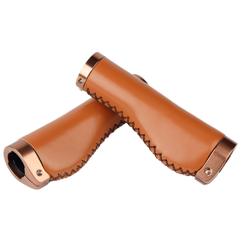 Brown PU Leather Soft Rubber Bicycle MTB Mountain Bike Grips Handlebar Protector