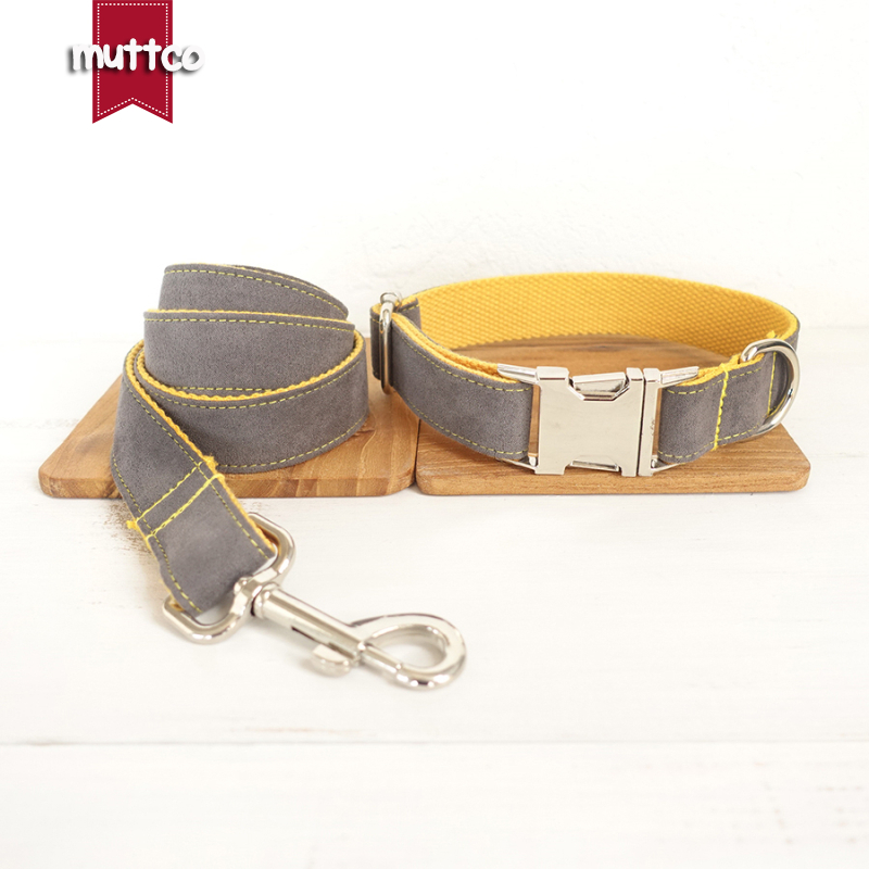 100pcs/lot MUTTCO wholesale self-design creative collar GRAY COVER YELLOW handmade nylon grey and yellow collars and leashes set
