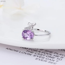 hot sale 2019 new-designed fashionable natural gem jewelry 925 sterling silver amethyst purple crystal adjustable ring for women