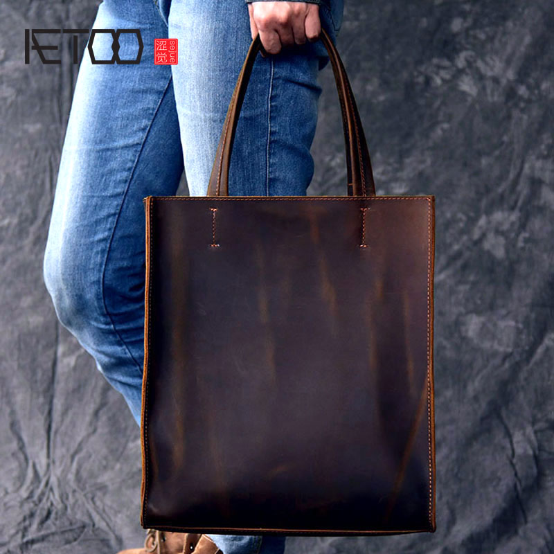 AETOO RClassic European and American style handmade leather tote bag men and women handbag large leather shopping bag