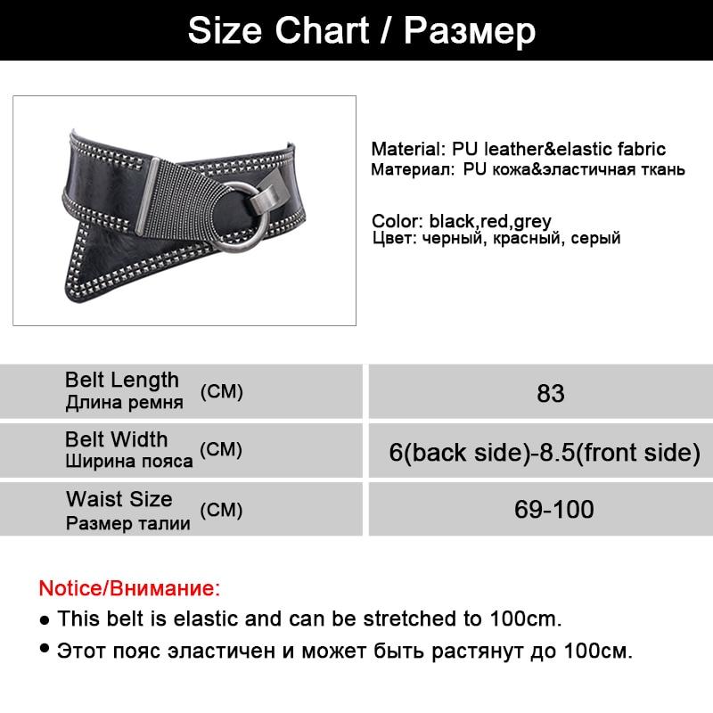 Maikun Fashion Punk Rocker Wide Belts voor dames Elastic Wide - Kledingaccessoires - Foto 6