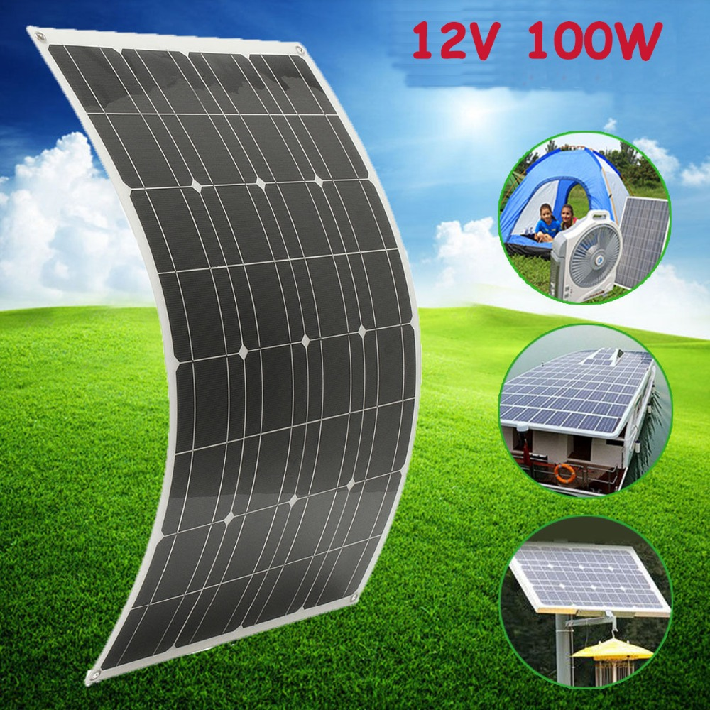 100w flexible solar panel power battery mono charging. Black Bedroom Furniture Sets. Home Design Ideas