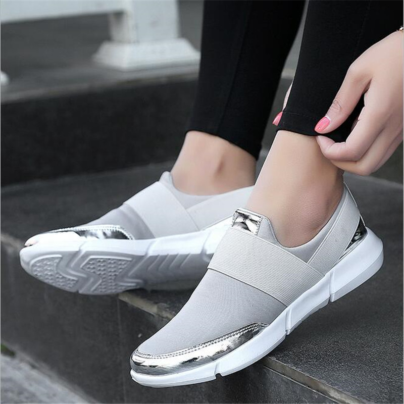 2018 Women Casual Shoes Female Platform Shoes Slip On Women Flat Tenis Casual Ladies Shoes Flats Silver Sneakers Size35-42 sweet women high quality bowtie pointed toe flock flat shoes women casual summer ladies slip on casual zapatos mujer bt123