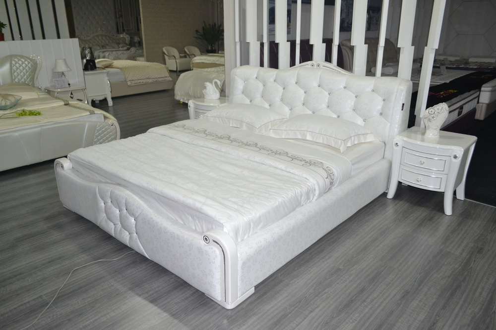 Bedroom furniture king size large soft bed leather comfortable bed ...