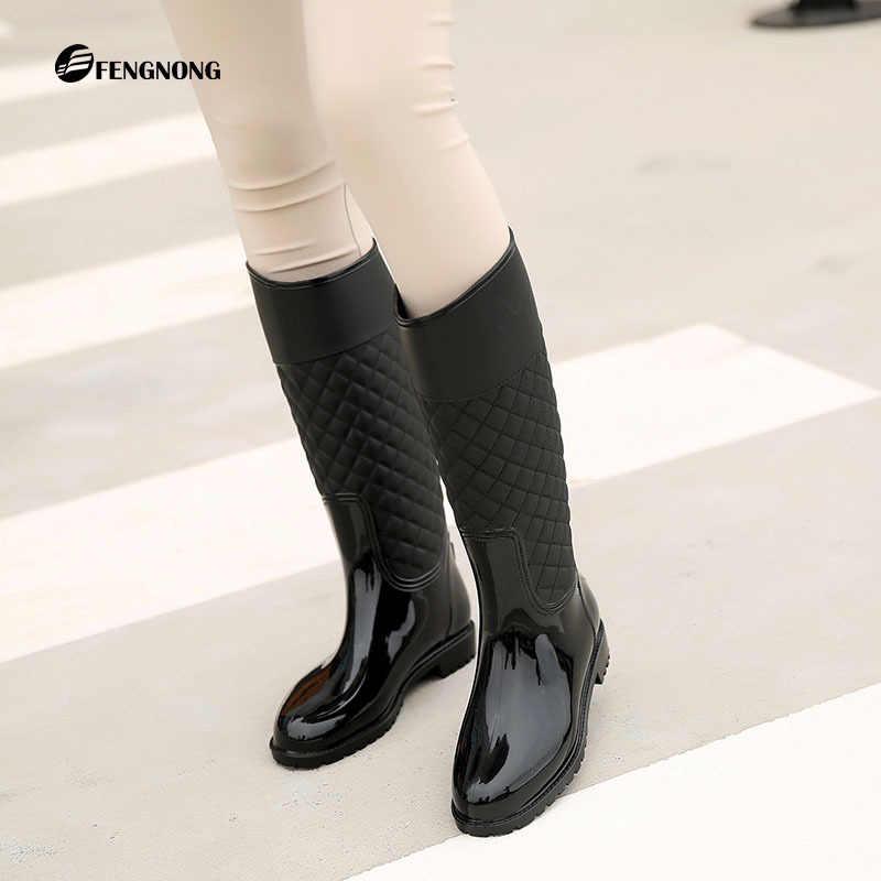 9cafac3db ... Women knee high Boots Waterproof Rubber Winter Dropshipping Women Rain  Boots Casual Ladies Hunter Boots Shoes ...