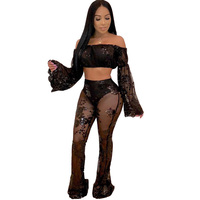 Sexy Floral Sequin Two Piece Sets Women Mesh Sheer Flare Sleeve Strapless Crop Tops and Flare Pants See Through Matching Outfits
