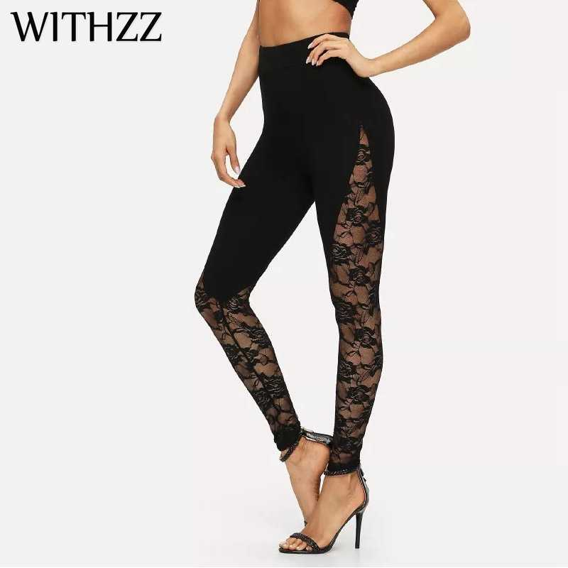 WITHZZ Black Stitching Lace Sexy Openwork Leggings Women Leggins Elbows for Fitness Legging Legins Workout Tayt Active Wear