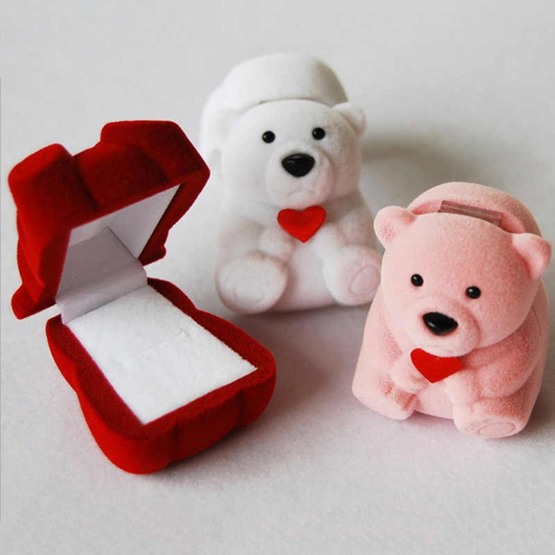 1pc Velvet Bowknot Cute Bear Jewelry Display Storage Box Case Wedding Ring Earring Bracelet  New Year Xmas Gift