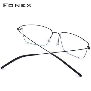 Image 3 - FONEXไทเทเนียมกรอบแว่นตาผู้ชายแว่นตาผู้หญิงใหม่สายตาสั้นเกาหลีMortenแว่นตาไร้สาย 98624