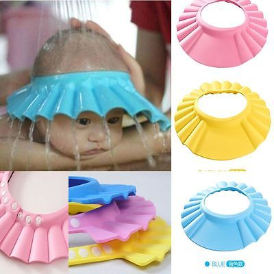 Soft Adjustable Baby Shower Cap Children Shampoo Bath Wash Hair Shield Hat Soft Adjustable