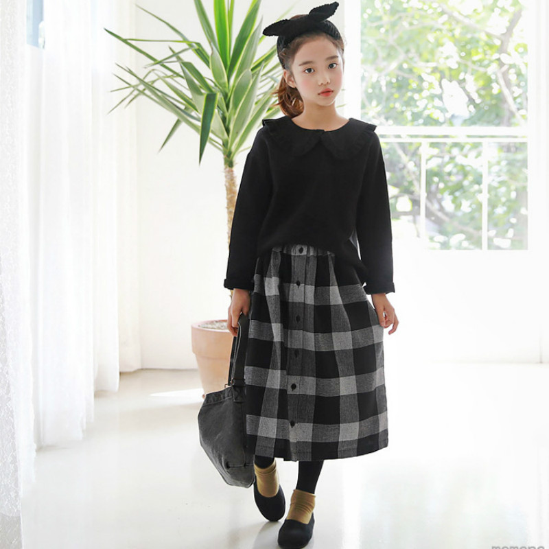2018 New Girl Plaid Skirt Retro Black and White Children Skirt Simple Fashion Baby Pleated Skirt Toddler Clothes Casual, #3219 knot side pleated skirt