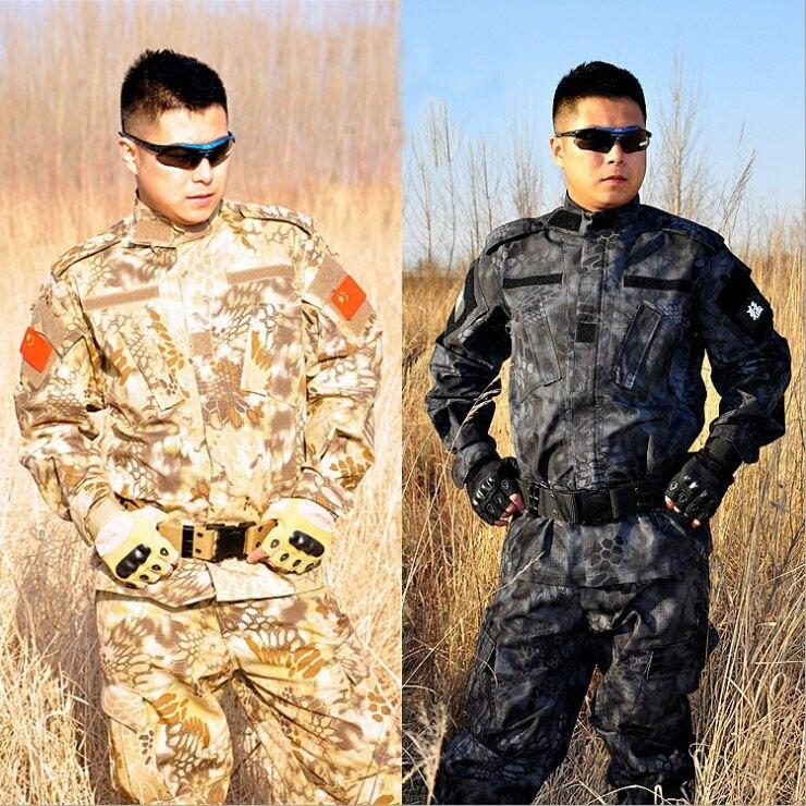 Combat Uniform Shirt+Pants Military Army Suit Men Thick Cotton Camouflage Suits Python Field Training Uniforms