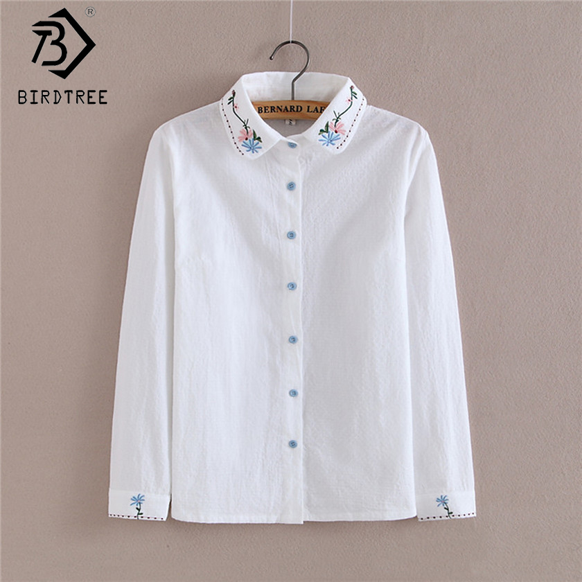 Blouse Tops White Shirts Mori Girl Korean Women Blusas Preppy 2017 Autumn Kawaii Embroidery Floral Female Shirts T78616A