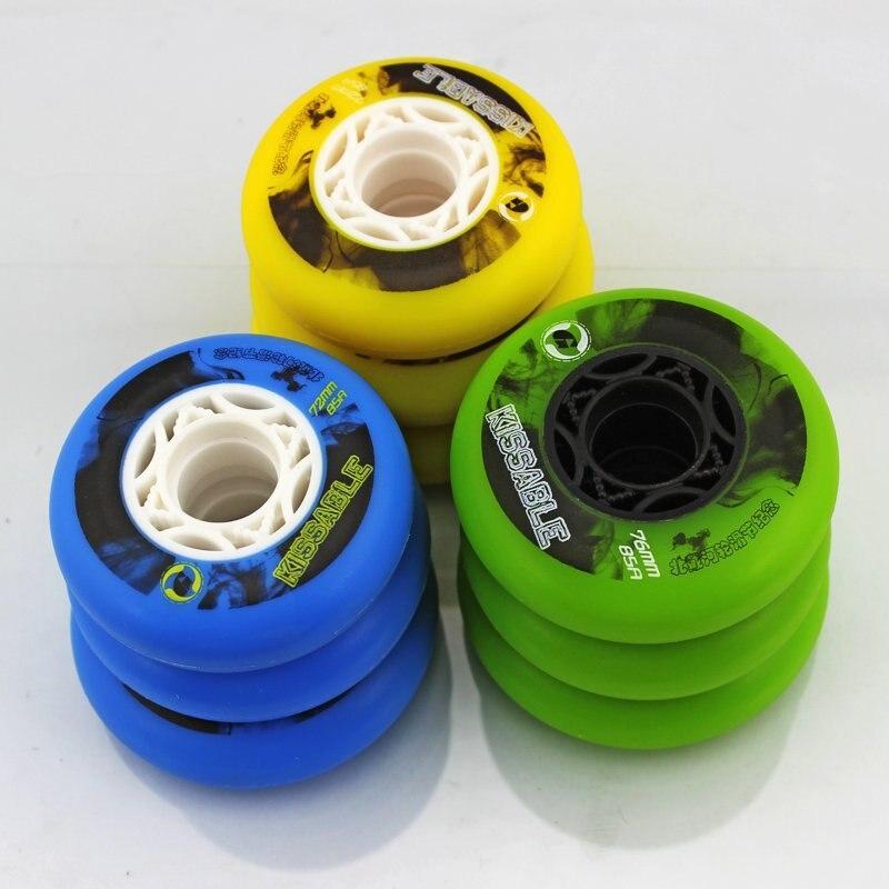 Prix pour 8 Pcs D'origine KISSABLE 85A Bonne Élasticité Durable Patins à roulettes pour Jump Saut FSK Slalom Roller Roues de Freinage