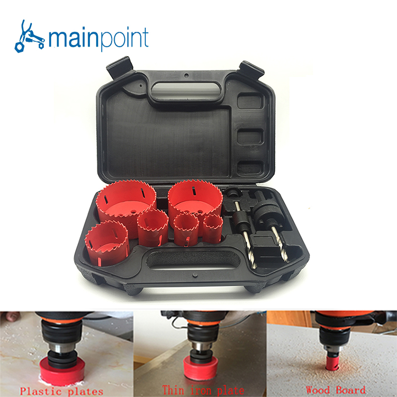 Mainpoint 9 Pcs HSS Bi-metal M3 Hole Saw Bit Cutting Set Kit 22-73mm Cutting Metal Steel Plastic Wood Sheet Hole Saw Hand Power 96pcs 130mm scroll saw blade 12 lots jig cutting wood metal spiral teeth 1 8 12pcs lots 8 96pcs