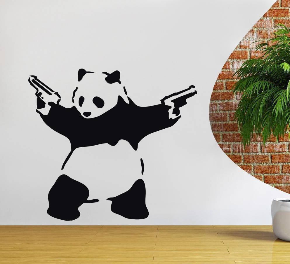 Banksy panda with guns sticker truck stickers logos and vinyl - D252 Banksy Panda Decal Wall Decor Sticker Art Vinyl Stencil Graffiti Home Decal China
