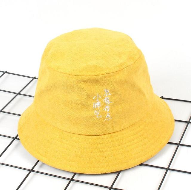 931512546a6 New Autumn Winter Funny Chinese Embroidery Bucket Hat Velvet Unisex Fashion  Bob Caps windproof Men Women