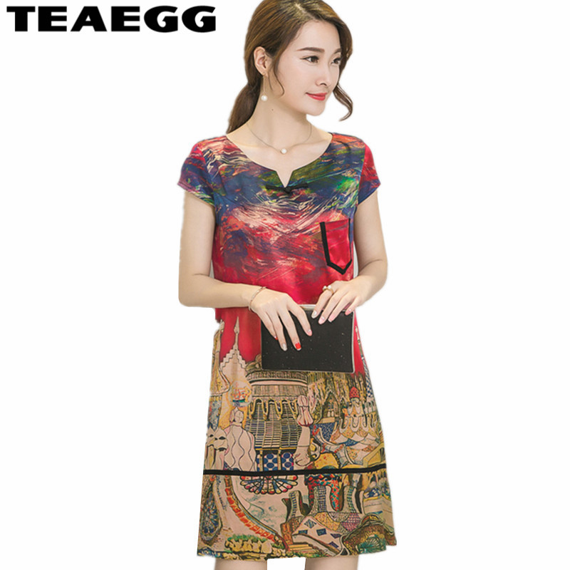 TEAEGG Women Summer Dress 2018 Woman Clothes Red Slik Laides Dresses Casual Vintage Party Dresses Large Sizes 4XL 5XL AL1115
