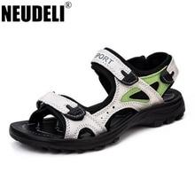 neudeli 2017  genuine leather women sandals fashion quality flat beach shoes footwear  summer sandals