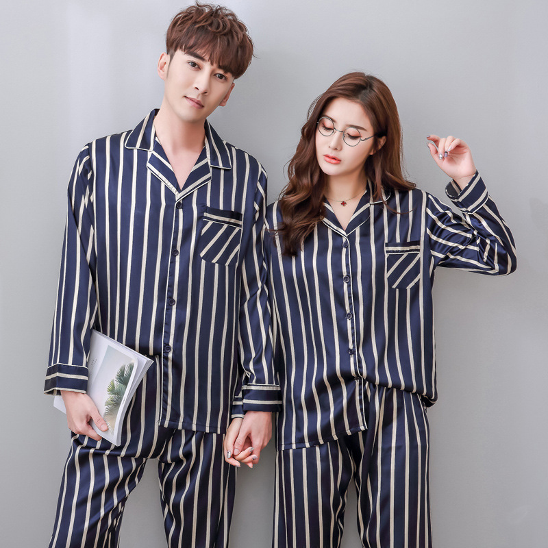 QWEEK Autumn Mens Sleepwear Satin Stripe Long Sleeve Male   Pajamas     Set   Casual Couples Pyjamas Men Pieces   Sets   Men   Pajamas