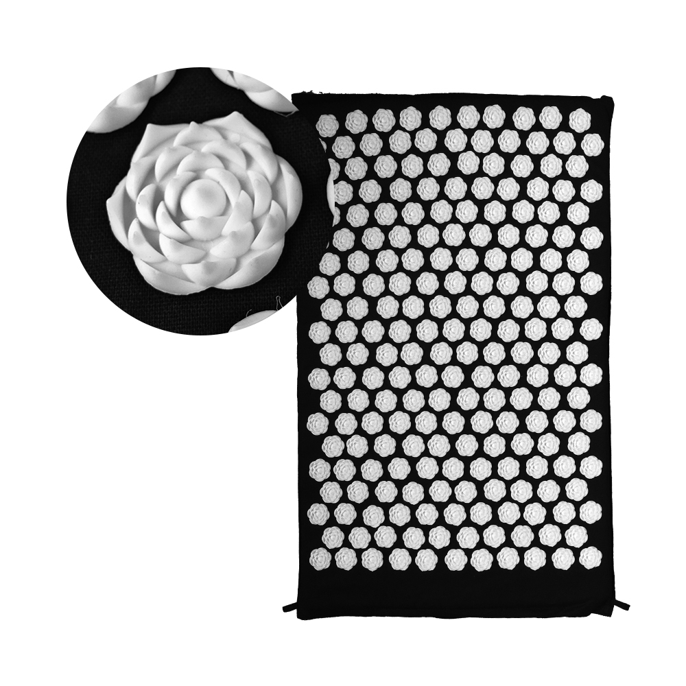 Black Shakti Mat Rose Shape 25nails/spike Acupressure for Body Massage Pad Yoga Mat Massager Relieve Mind Stress and Pain MP0103 hot sale foot massager mat for shakti