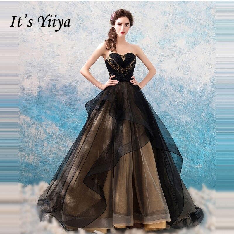 It's Yiiya Evening Dresses Strapless Sleeveless Black Floor Length Elegant Formal Dress For Party Fashion Designer LX873