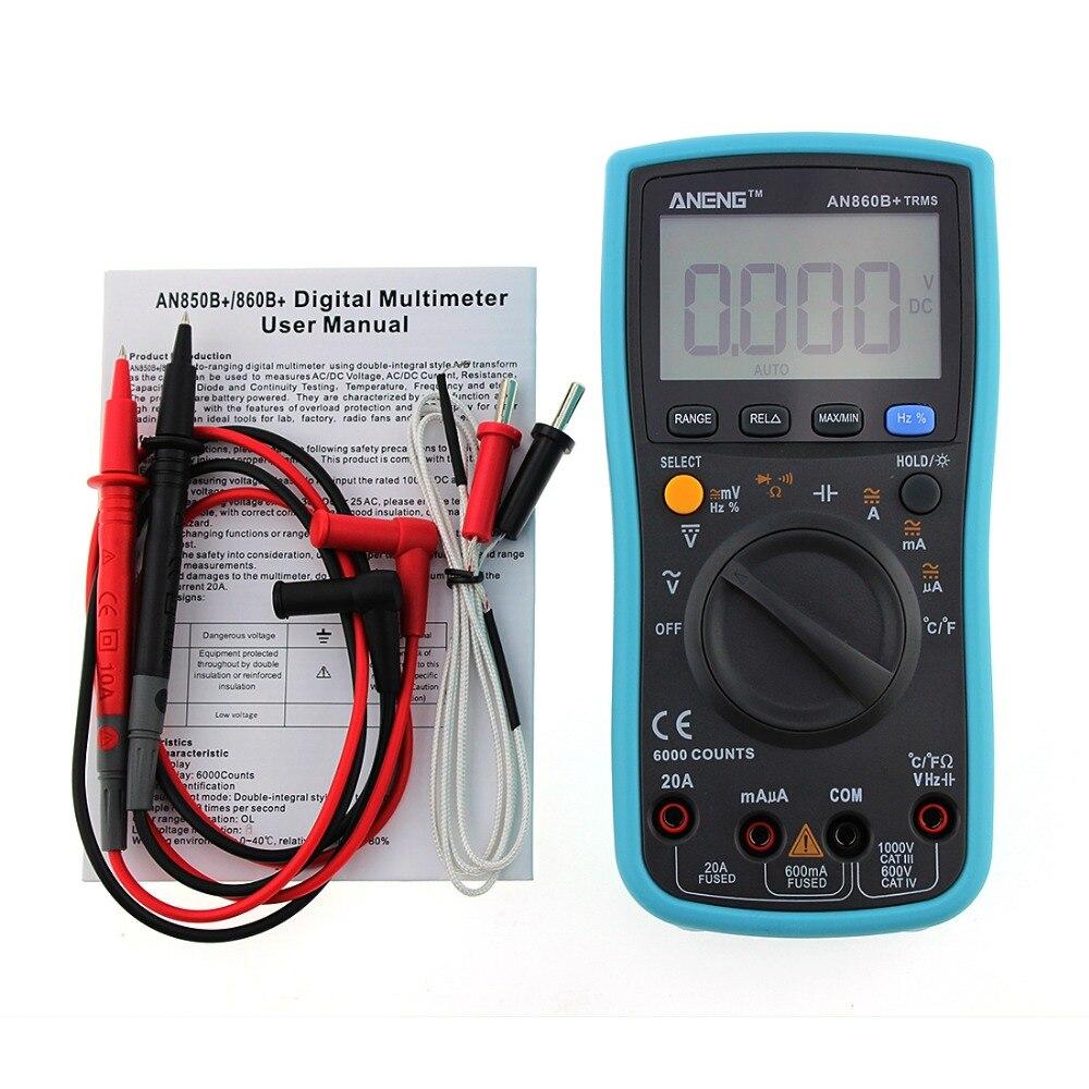 Nova ANG860B + Backlight AC/DC Amperímetro Voltímetro Ohm Medidor Portátil Multímetro Digital