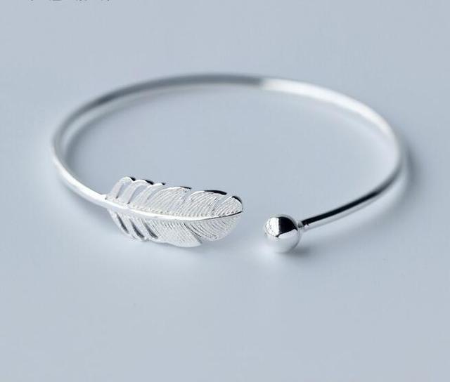 Genuine 925 Sterling Silver Sorte Rodada & Pássaro Charme jóias de Penas Asas do Anjo pulseira ajustável LS230