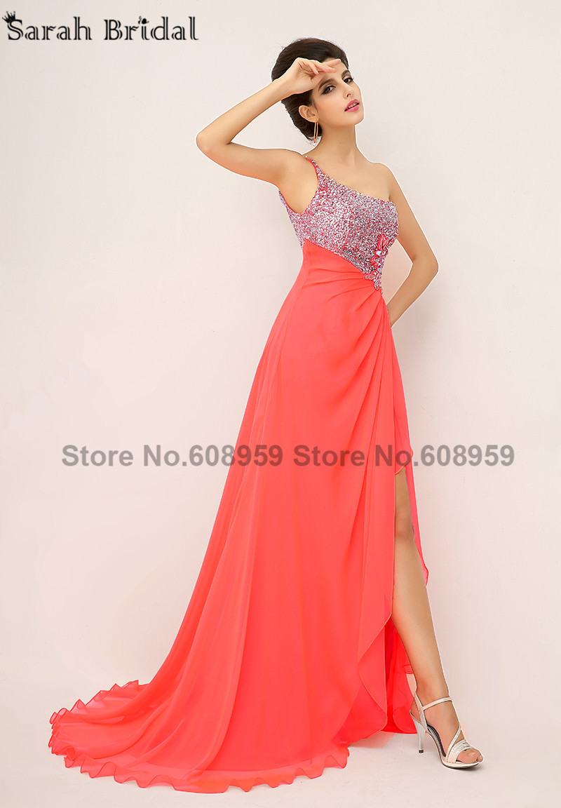 In Stock Elegant One Shoulder Evening Dresses Crystals Sexy High Slit Prom Dresses Pleat Chiffon Sequined Real Sample XU014-in Evening Dresses from Weddings & Events    3