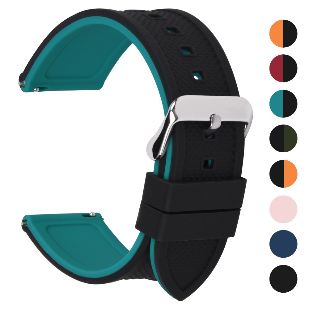 Fullmosa Rainbow 8 Colors Quick Release Silicone Rubber Watch Band, Soft Rubber Watch Strap With Buckle 18mm 20mm 22mm 24mm