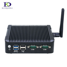 Kingdel Fanless Quad Core Mini Computer Dual HDMI Dual LAN Intel HD Graphics Celeron N3160 Windows7 TV BOX Plus 1COM DP