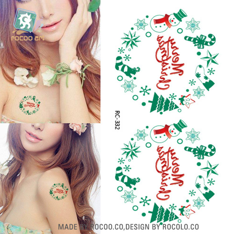 10 pcs Top Fashion Color Christmas Tattoo Stickers Hot Small Fresh Men And Women Waterpr ...