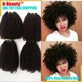 8A Mongol Afro Rizado Pelo rizado 4 Bundls de Belleza Productos de Pelo Mongol Kinky Curly Hair Weave Bundles Extensiones de Cabello Humano