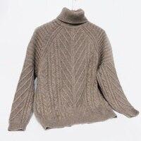 Зимний свитер Сгущает Шерсть свитер водолазка кабель Вязанный свитер для женщин