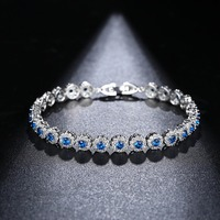 Elegant Lady Jewelry Genuine 925 Sterling Silver Bracelet Charming Bride Wedding Wearing Blue Color Shiny CZ Stone Bracelet