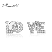 AINUOSHI 14K White Gold /Yellow Gold /Rose Gold Natural Diamond Earrings LOVE Letters Diamond Jewelry for Women Stud Earrings