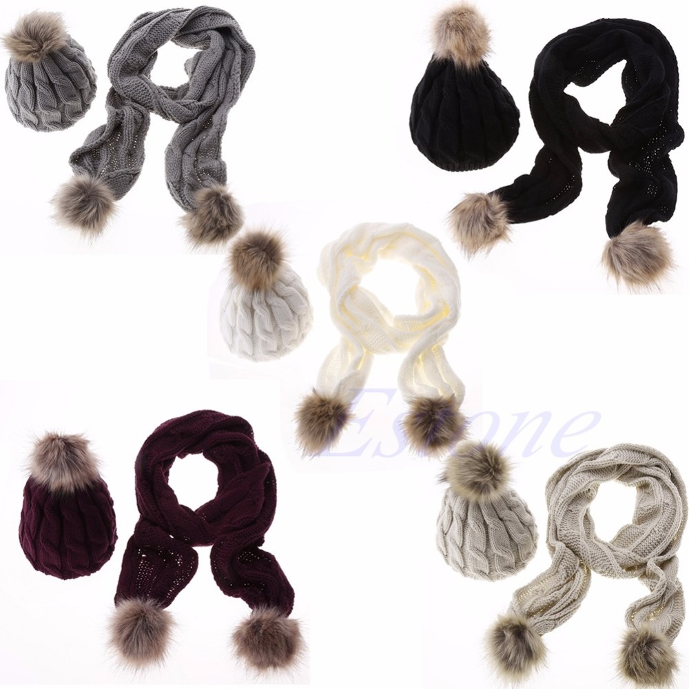 Winter Warm Women Fashion knitted Scarf and Hat Set Crochet Cap Beanie Ski Hat a set of chic rhombus pattern color block knitted hat scarf and gloves for women