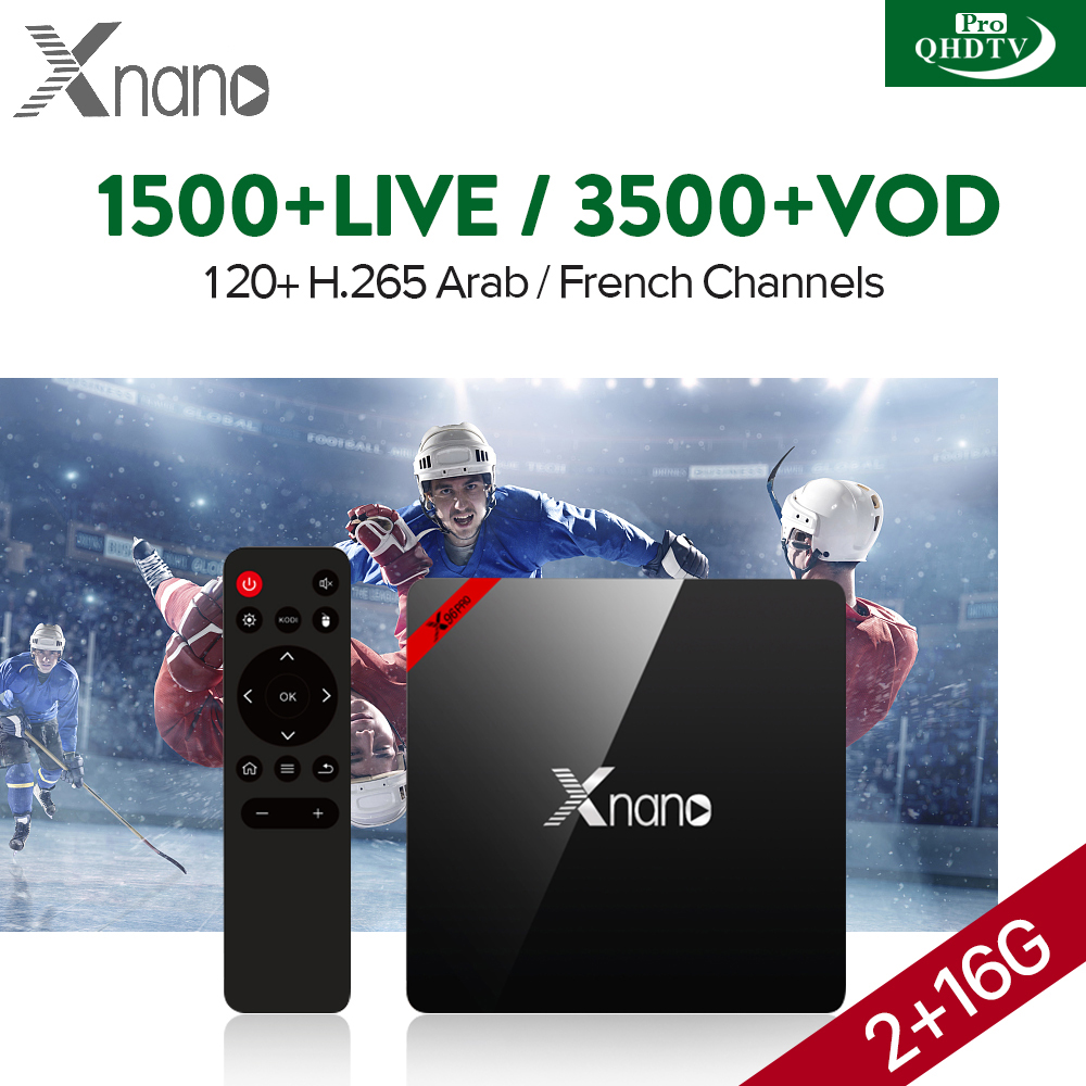 IPTV Box Arabic H.265 QHDTV PRO Code 1 Year Abonnement IPTV French Arabic Europe Belgium Dutch XNANO Android 6.0 Smart TV Box стоимость