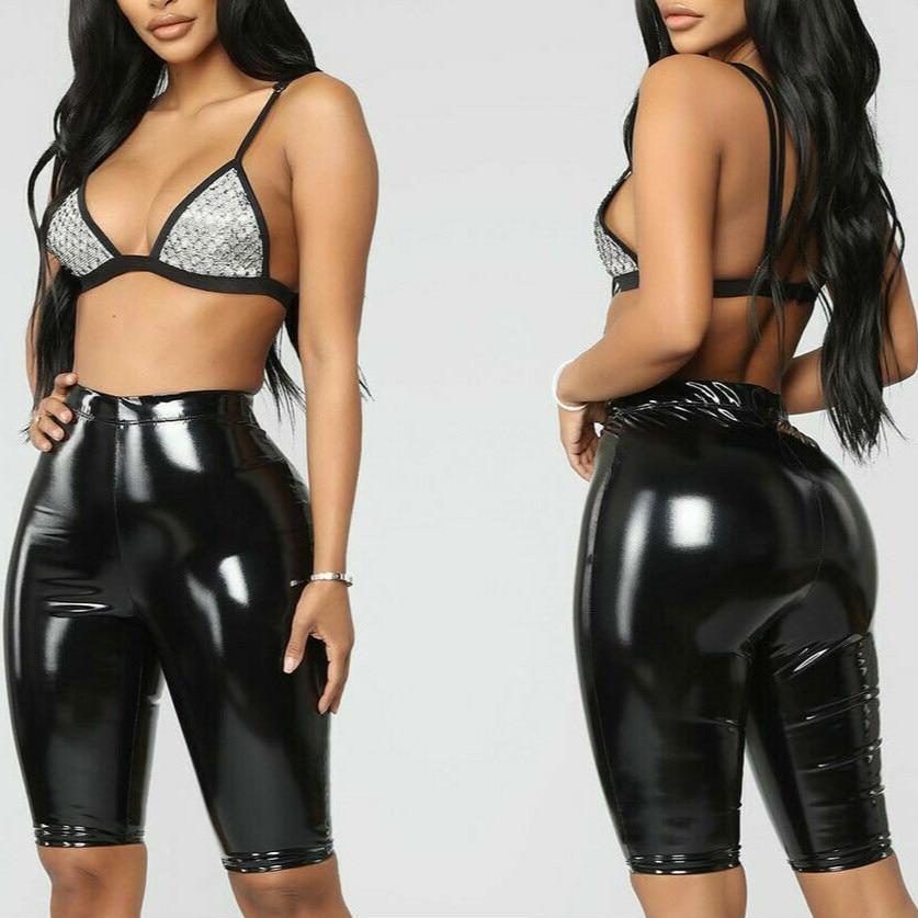 2019 High Elastic PU Leather Solid Skinny Pants  Women Fashion Knee Length Bodycon Short Pants