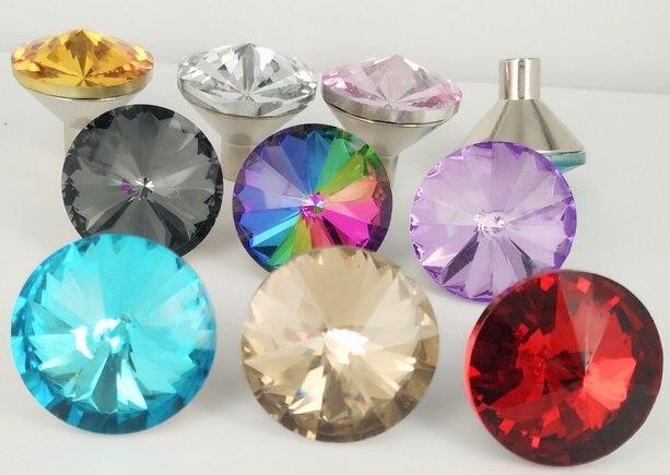 20pcs/lot 30mm Multicolor Crystal Glass Door Knobs Drawer Kitchen ...