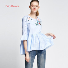 Fairy Dreams Women Shirt Flowers Embroidery Blue Blusas 2017 Spring Summer Butterfly Sleeve Blouses Plus Size Casual Clothes