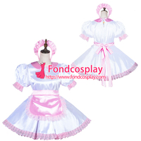 Lockable Sissy Maid Satin Dress Unisex CD/TV Tailor Made[G3819]