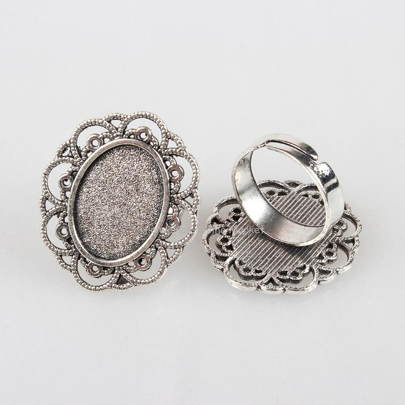 Vintage Adjustable Iron Flower Finger Ring Components Alloy Cabochon Bezel Settings, Antique Silver, Oval Tray: 13x18mm; 17mm